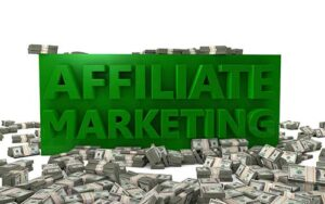 Affiliate marketing words on top of pile of cash
