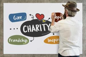 Man pasting words charity and give on whiteboard
