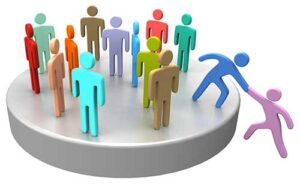 Group of colored people on top of a circle