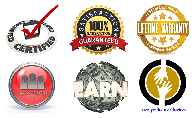 Small images of checkbox, 100% satisfaction guaranteed, lifetime warranty, 24/7 support, earn around ball of cash